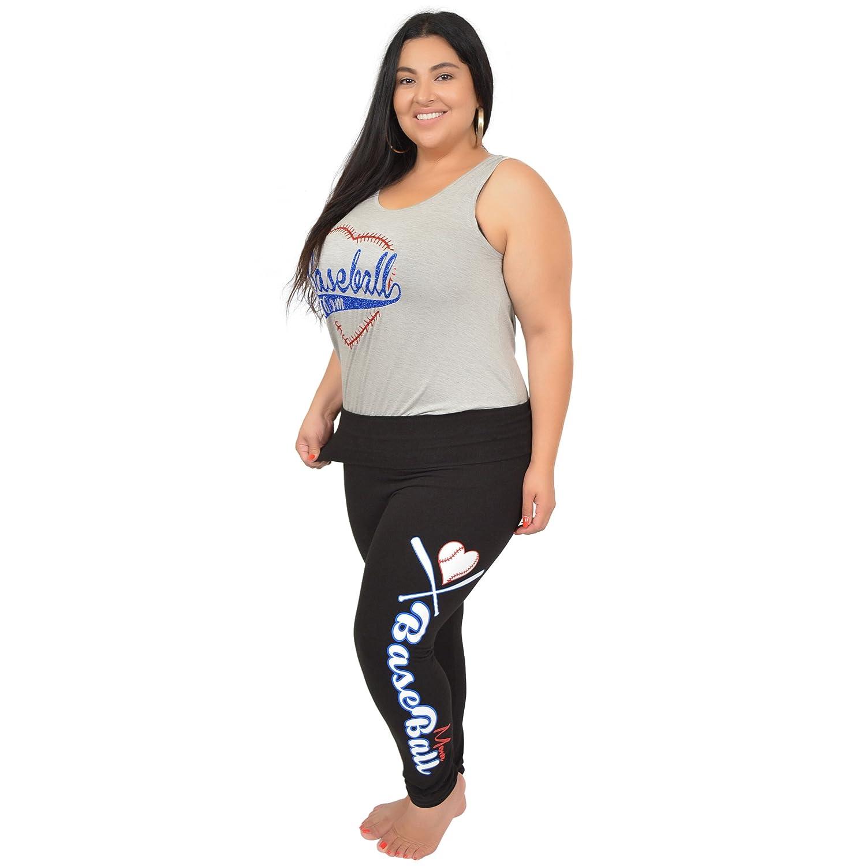 6d4cf2d0777 Kaysees Women s Plus Size Baseball Mom Foldover Leggings at Amazon Women s  Clothing store