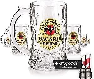 6 x Rum Bacardi – oakhe tipo Murciélago Jarra Cristal/, marca Cristal, vasos de cóctel Cristal + Botella vertedor