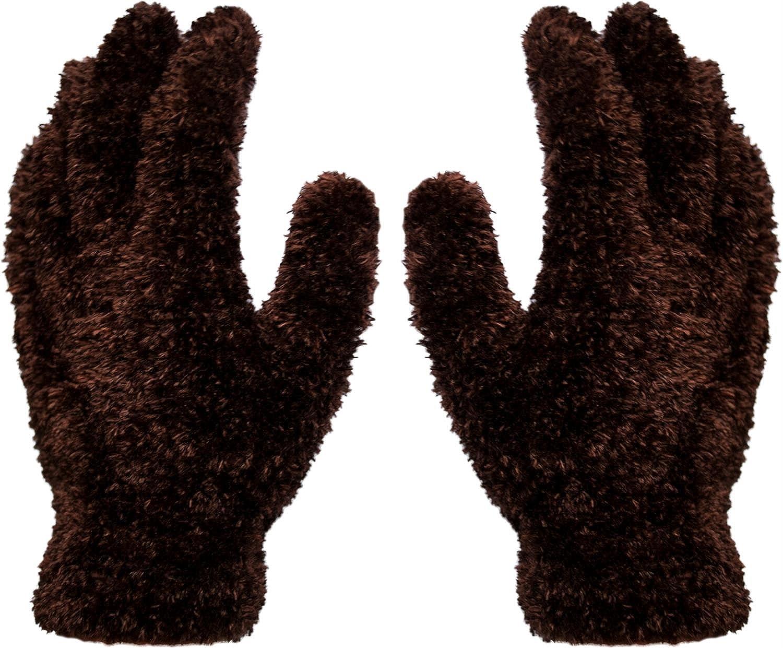 1 Paar Kuschel - Plüsch - Handschuhe Magic Gloves Braun