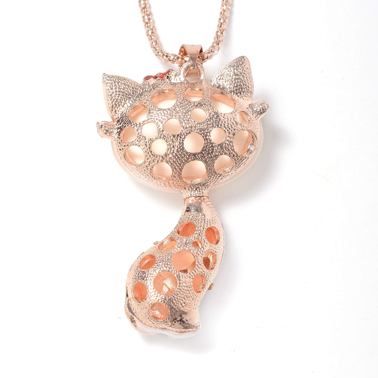 Shop LC Delivering Joy Lab Created Cats Eye White Crystal Enameled Cat Pendant Necklace 29 in Rosetone