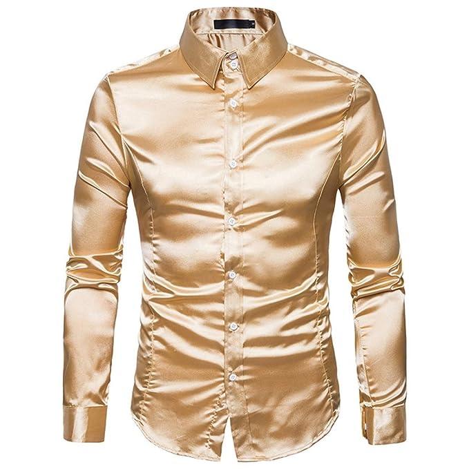 dbbdfe7d35ca Hemden Herren LUCKYCAT 2018 Fashion Trend Langarm Einfarbig Glänzende Hemden  Slim Fit Hemden Modern (Gold