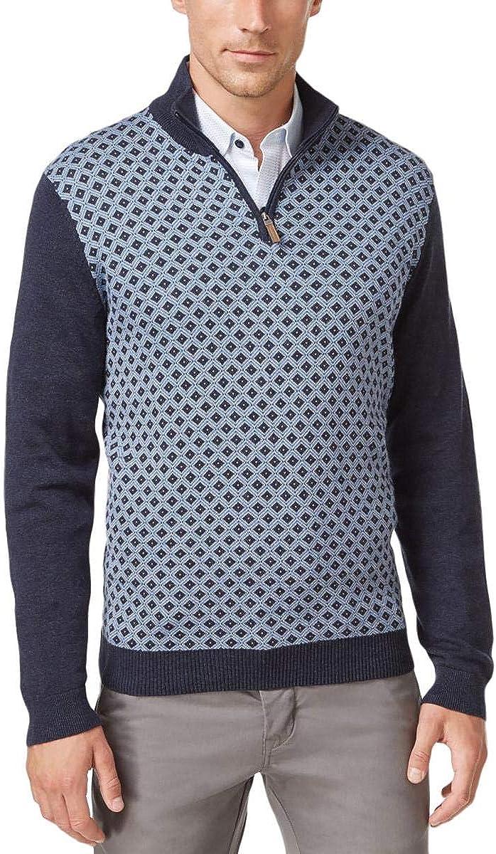 Tasso Elba New Men's Free shipping 1 4 Pullover Diamond-Patterned Houston Mall Knit Swe Zip
