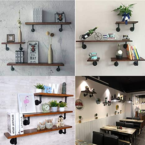 Screw Accessories Included 90x130mm 2PCS Pipe Shelf Brackets Industrial Iron Heavy Duty Shelf Supports for Bookshelf Shelf Floating Shelves Wall Mounted DIY Shelving Brackets