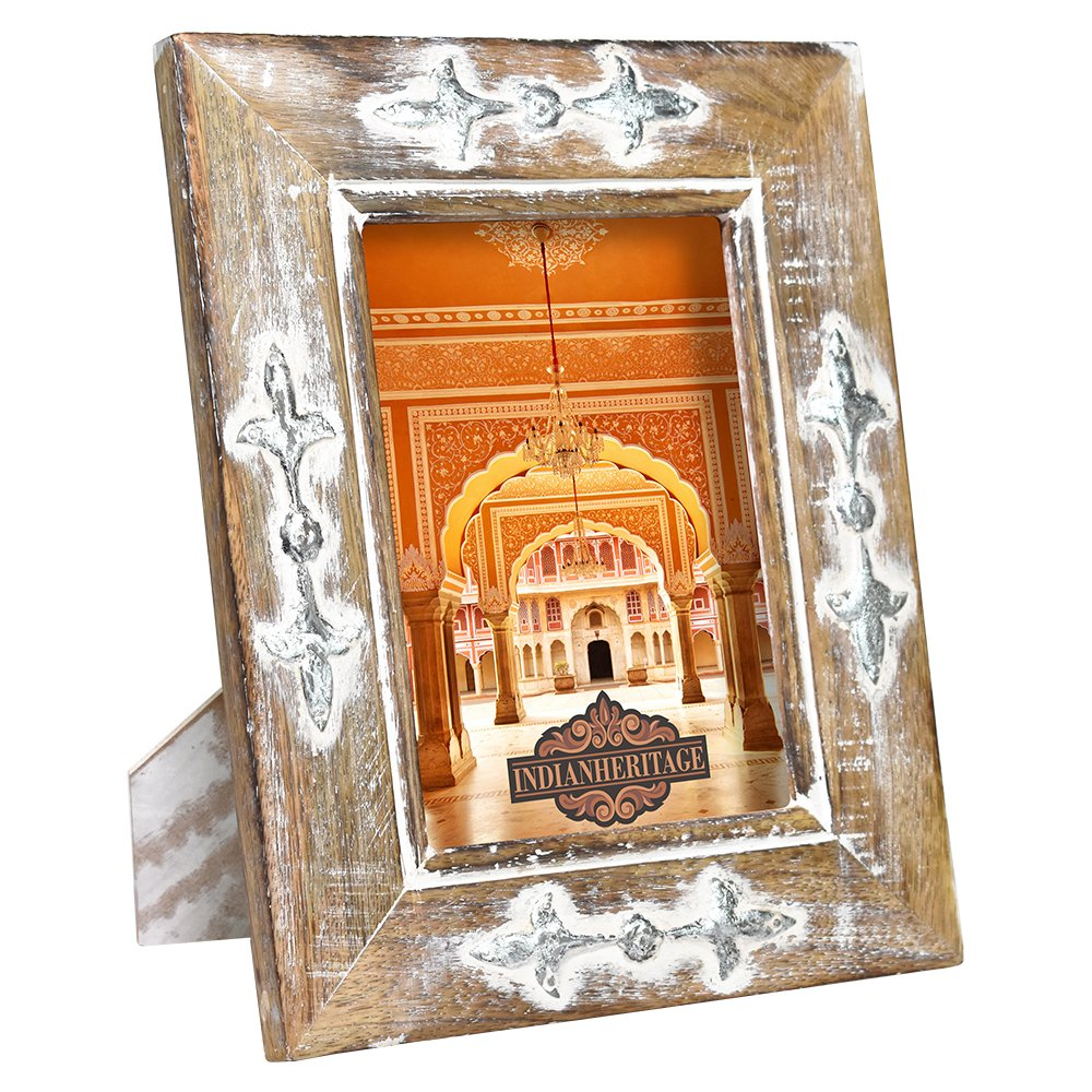 Indian Heritage Wooden Photo Frame 5x7 Mango Wood with Metal Cladding Design in Dark Wood with Whitewash and Silver Finish