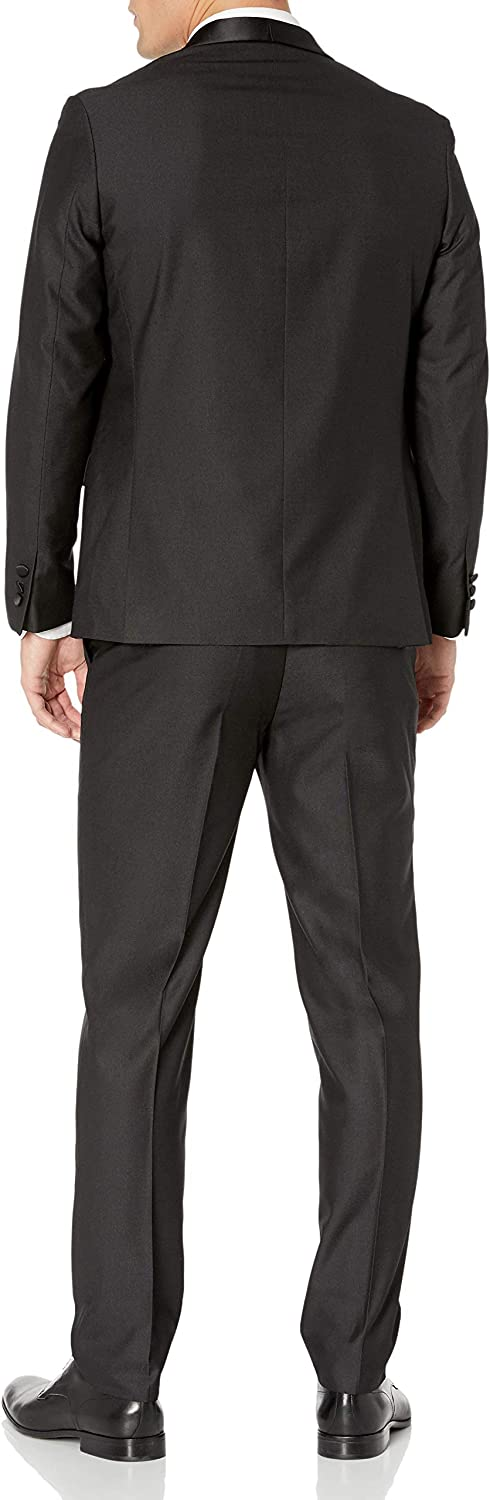 Available in Colors Adam Baker Mens Slim Fit One Button Satin Shawl Collar 2-Piece Tuxedo Suit