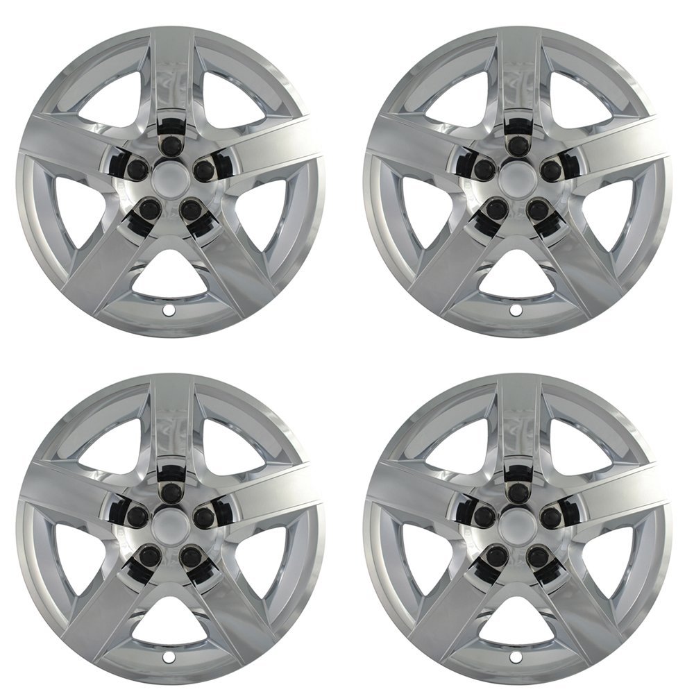 Hubcaps for Chevy Malibu (Pack of 4) Wheel Covers - 17 Inch, 5 Spoke, Snap On, Chrome by OxGord (Image #1)
