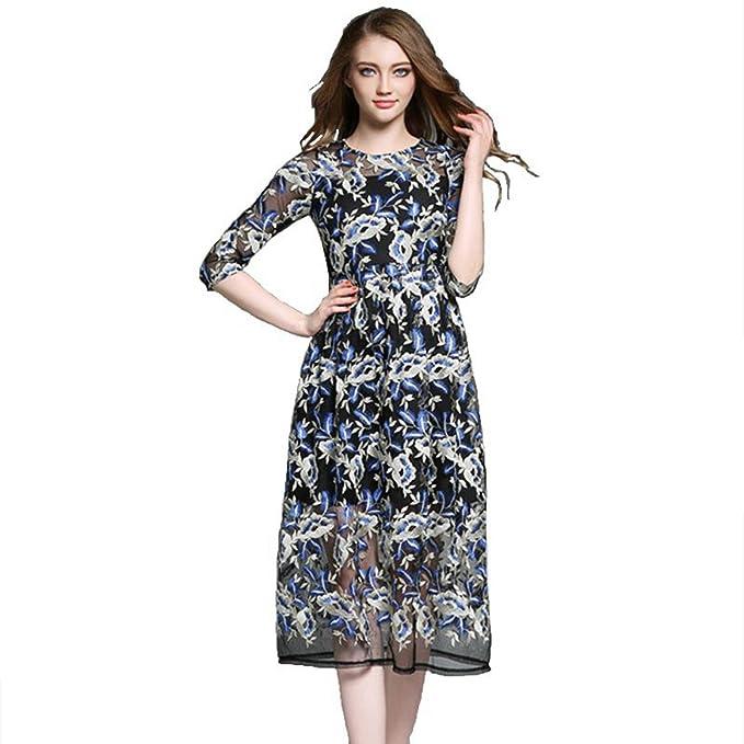 SONGQINGCHENG La Última Moda Vestido Bordado De Malla Pista Mujer Largo De Primavera Y Otoño Dulce