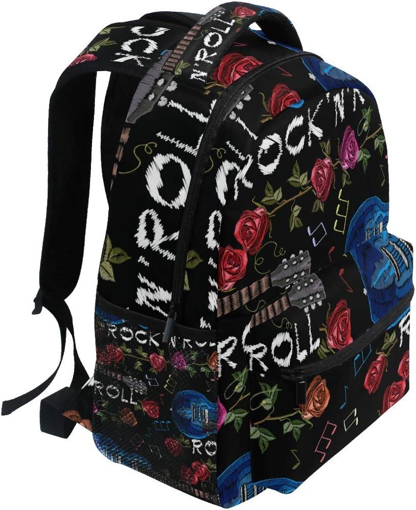 Musique Rock Guitare et Roses Ahomy Sac /à Dos d/école pour Adolescentes Sac /à Dos de Voyage Sacoche de randonn/ée pour Femmes et Hommes Filles gar/çons