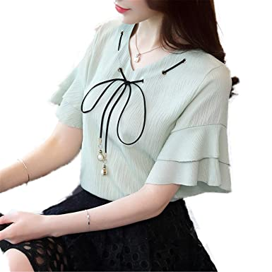 OUXIANGJU Women Summer Chiffon Blouse Plus Size Shirts Female ETE Flare Sleeve Bow V-Neck