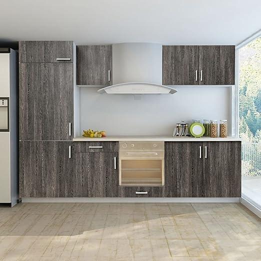 Armario de cocina con aspecto de wengué, para nevera integrada, 7 ...