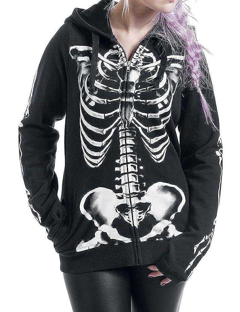 Nlife Women Long Sleeve Zip Front Skull Skeleton Print Halloween Hoodie Sweatshirt with Pocket
