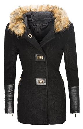 new photos ba8a2 b1717 Rock Creek Selection Damen Winter Wollmantel Jacke warm Mantel Kunstleder  Ärmel Fell Kapuze D-120 S-XL