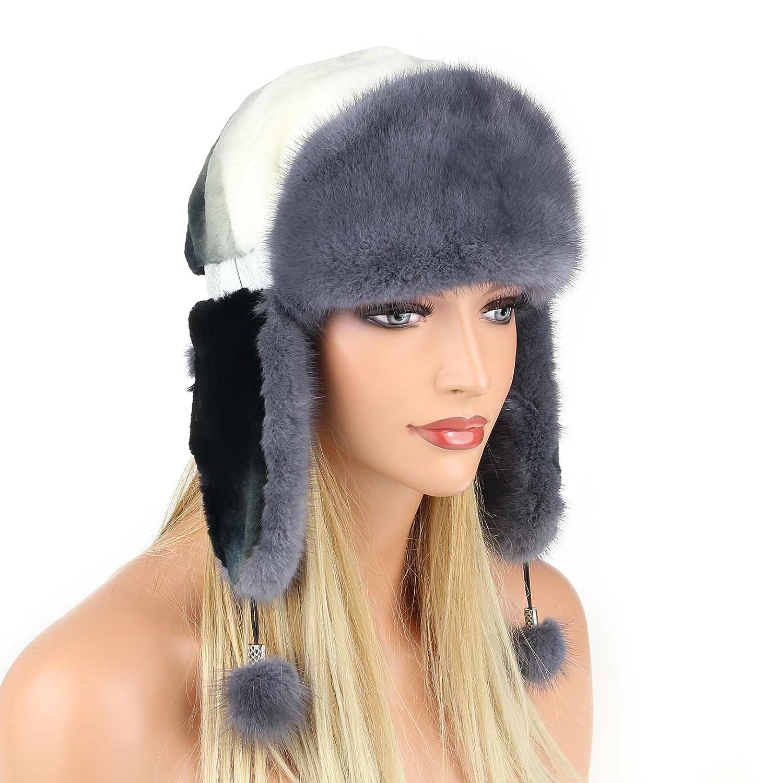 Damen Pelzmütze Fellmütze Nerzmütze Fliegermütze Wintermütze Skimütze Uschanka Polarmütze Russische Mütze Echt Fell