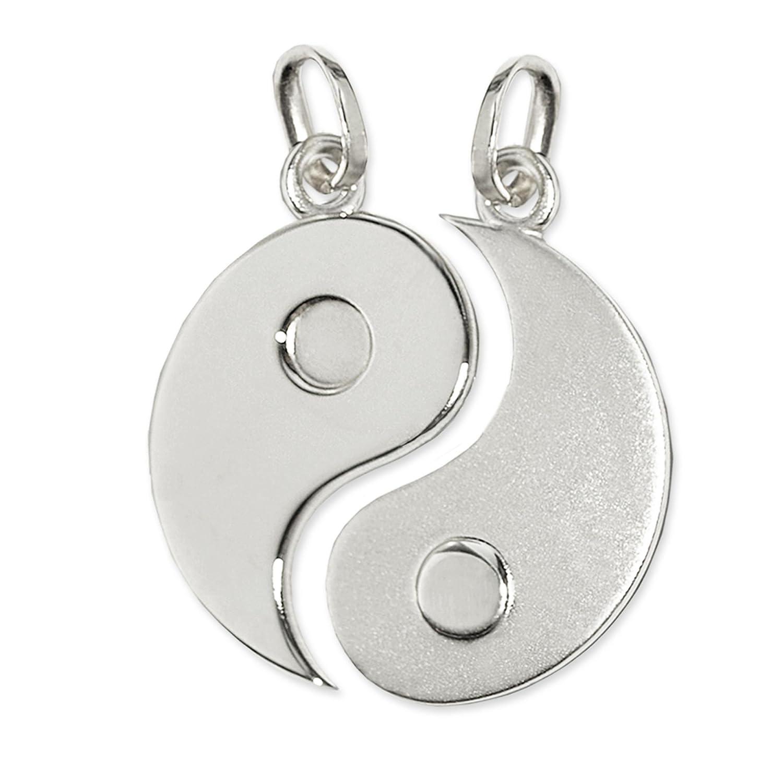 CLEVER SCHMUCK 2 Silberne große geteilte Partneranhänger Yin Yang Ø 20 mm matt und glänzend STERLING SILBER 925 ahs3528-ohne