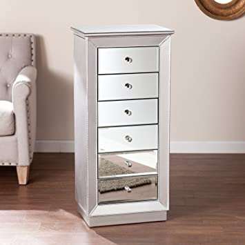 Amazoncom Southern Enterprises Jacklyn Mirrored Jewelry Armoire in