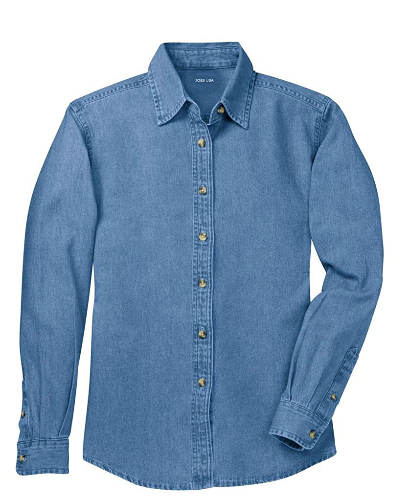 2400107f8e3 Ladies Long Sleeve Value Denim Shirts in Sizes XS-4XL at Amazon Women s  Clothing store