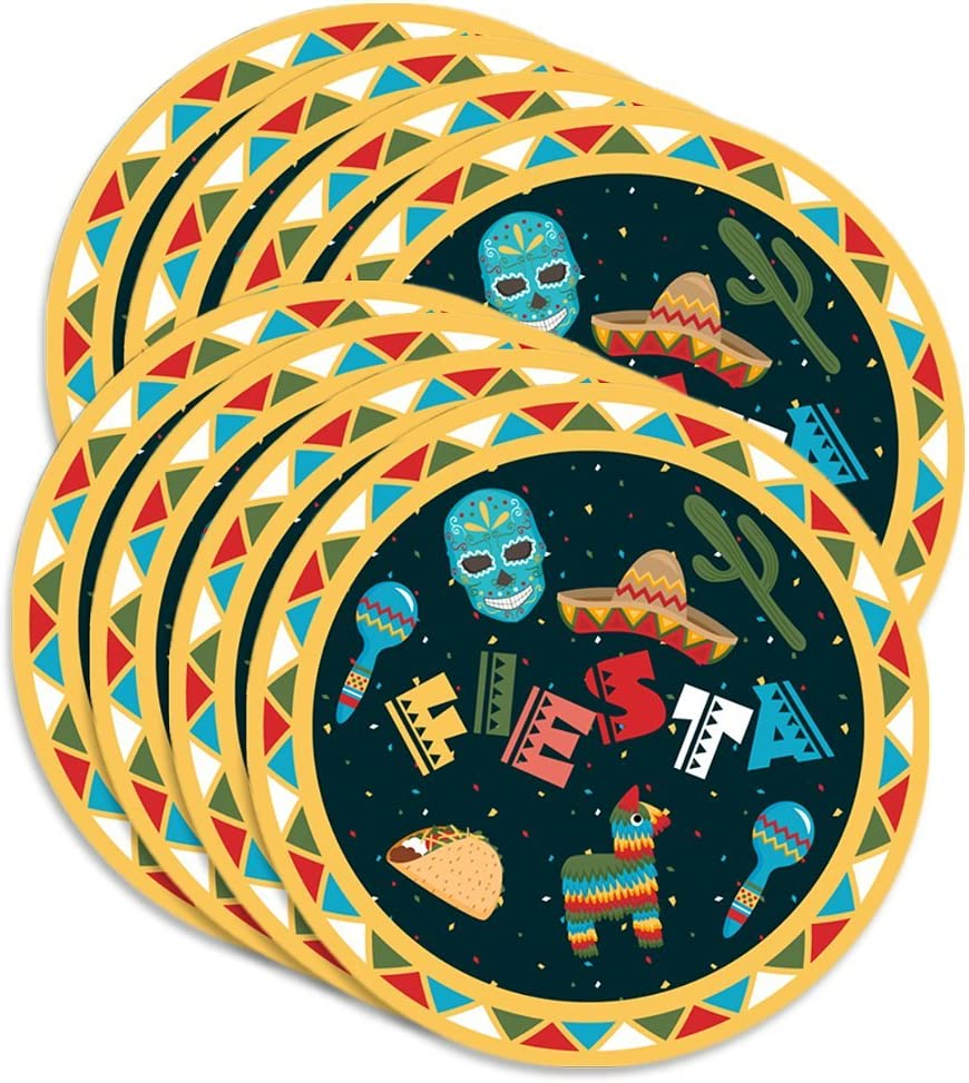 """Mexican Fiesta Birthday Party Supplies Large 9"""" Plates 80pcs Value Pack"""