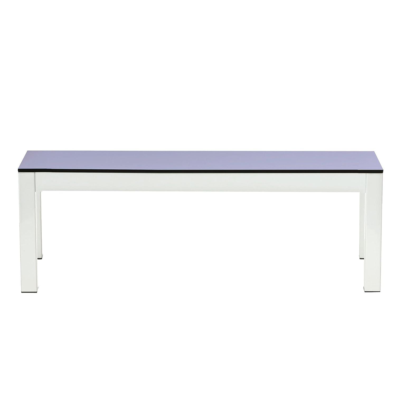Quadrat Bank HPL taupe/lavendel - Gestell weiß / 165 x 40 cm, h 46 cm
