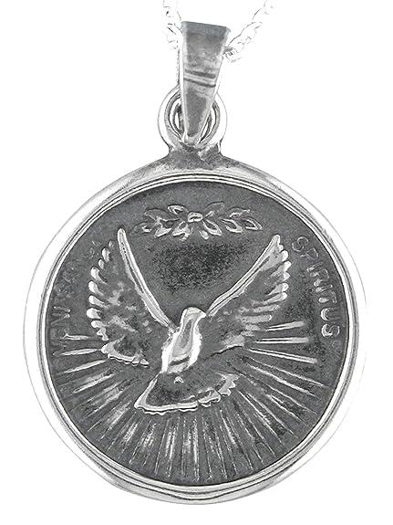 Alylosilver Collar Colgante Medalla Espiritu Santo de Plata ...