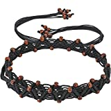 JAINSONS BRAIDED CANVAS COTTON CORD CASUAL BLACK BELT WITH WOODEN BEADSFOR WOMEN