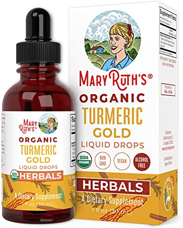 USDA Organic Turmeric Gold Liquid Drops by MaryRuth's | Liquid Herbal Blend | Turmeric Curcumin, Black Pepper, Cassia Cinnamon Bark, Ginger Root | Immune & Digestive Support | Non-GMO, Vegan, 1oz