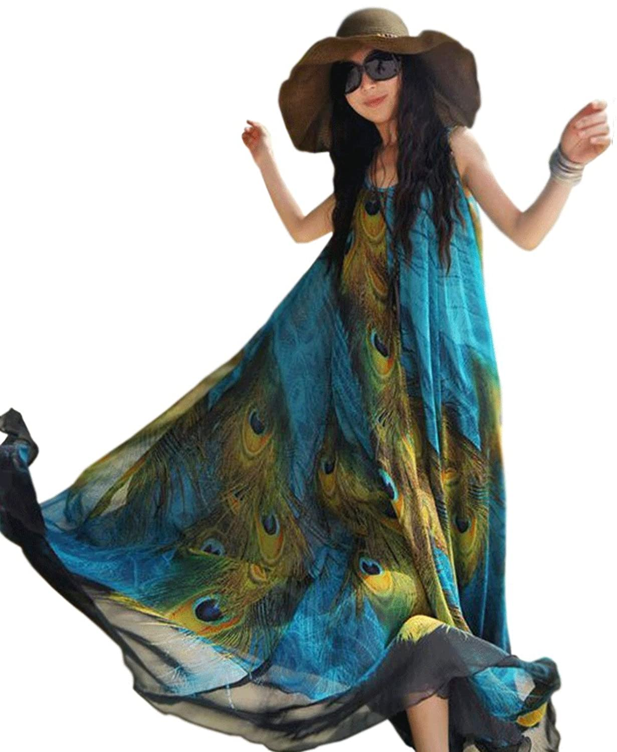 Unomatch Women Plus Size Loose Fitting Long Peacock Feather Printed Gown Dress Blue
