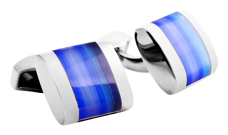 Tateossian  -    Metalllegierung Halbmondschliff   blau Verre