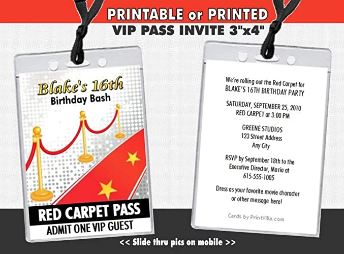 Amazon Com Hollywood Red Carpet Birthday Party Vip Pass Invitation