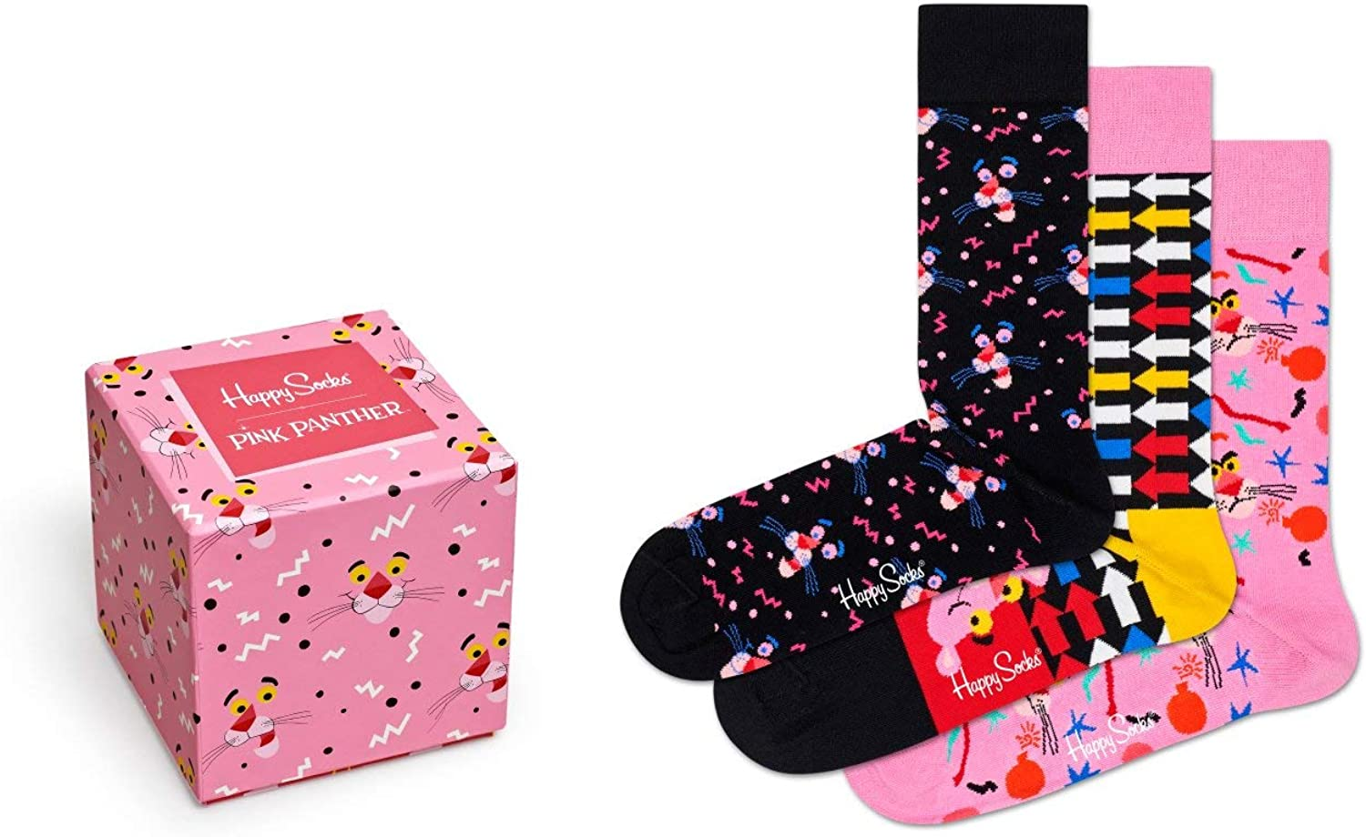 Happy Socks Mens and Ladies Pink Panther Cotton Gift Boxed Socks Pack of 3