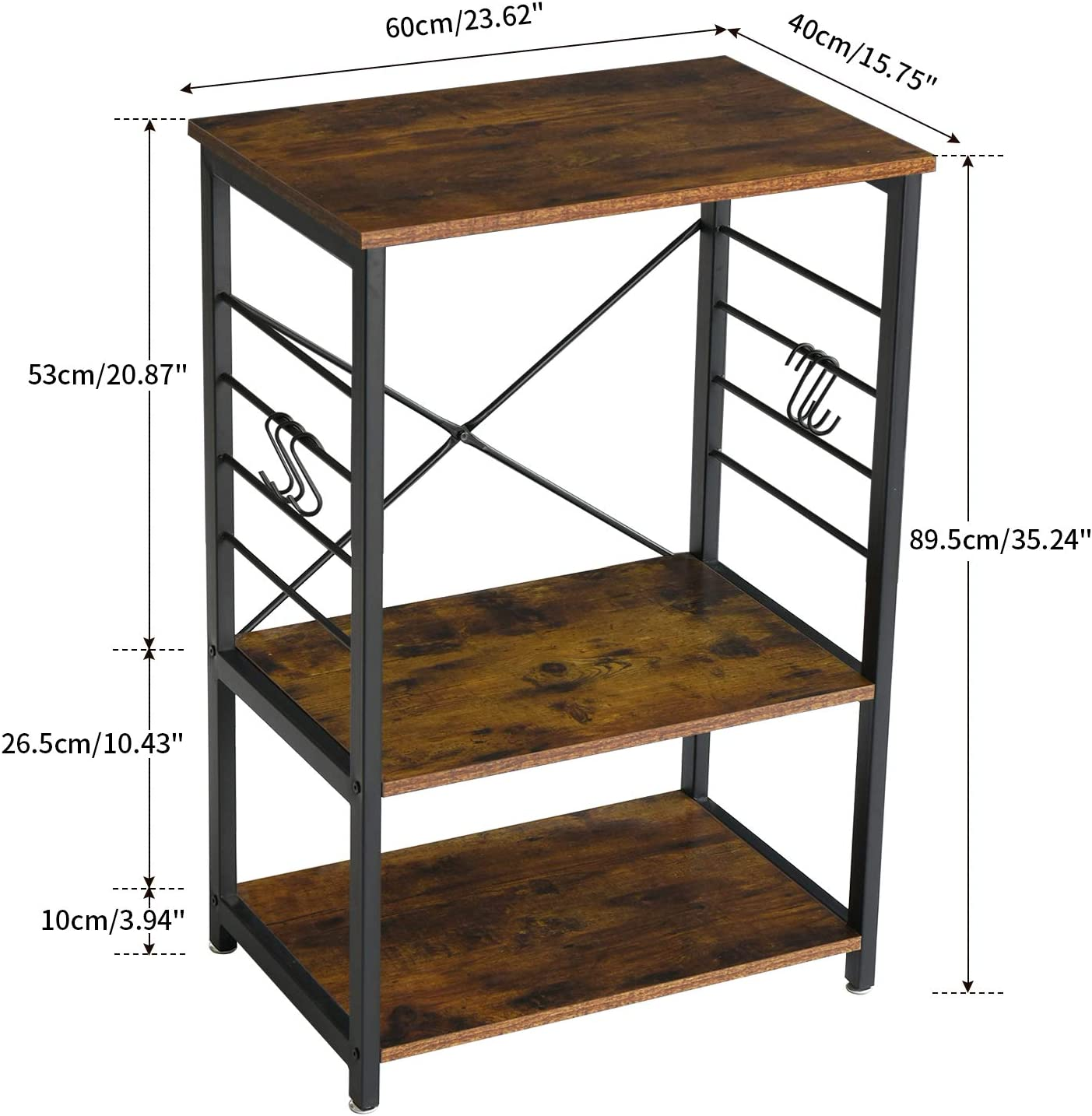 YMYNY Industrial Microwave Oven Stand, 3-Tier Kitchen Baker's Rack with Metal Frame and 6 Hooks, Multifunctional Coffee Bar for Living Room Decoration, Rustic Brown UTMJ022H - Standing Baker's Racks