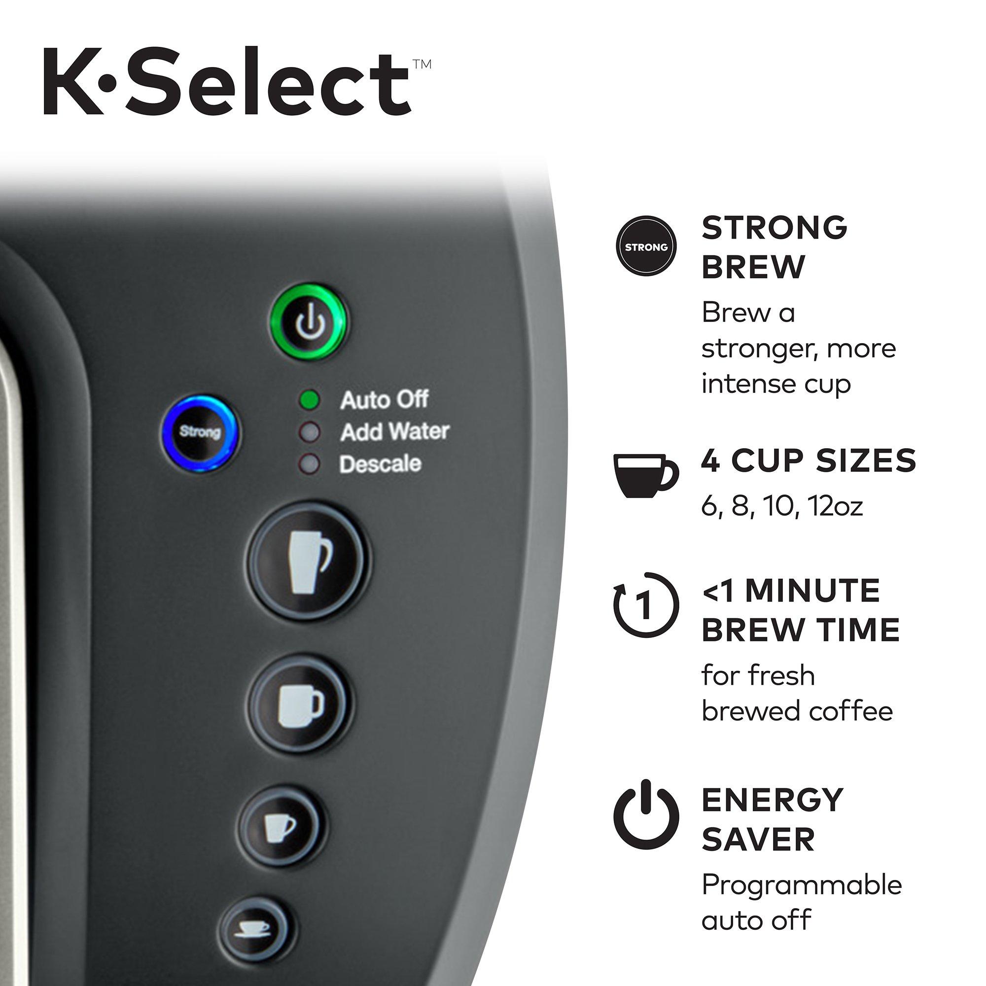 Keurig K-Select Single-Serve K-Cup Pod Coffee Maker with 12oz Brew Size, Strength Control, Matte Black by Keurig (Image #6)