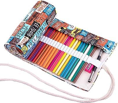 Abaría - Bolso para lápices, Grande Estuche Enrollable para 72 lapices Colores, portalápices de Lona, Bolsa Organizador lápices para Infantil Adulto, boleto 72: Amazon.es: Electrónica