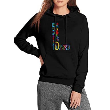 Rjodosa Letter X Colored Font from Numbers Black Hoodie Sweatshirt for Women Casual Fleece Warm Pullover