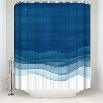 KAROLA Shower Curtain Bathroom Decor 54 X 72 Blue Wavy Watercolor