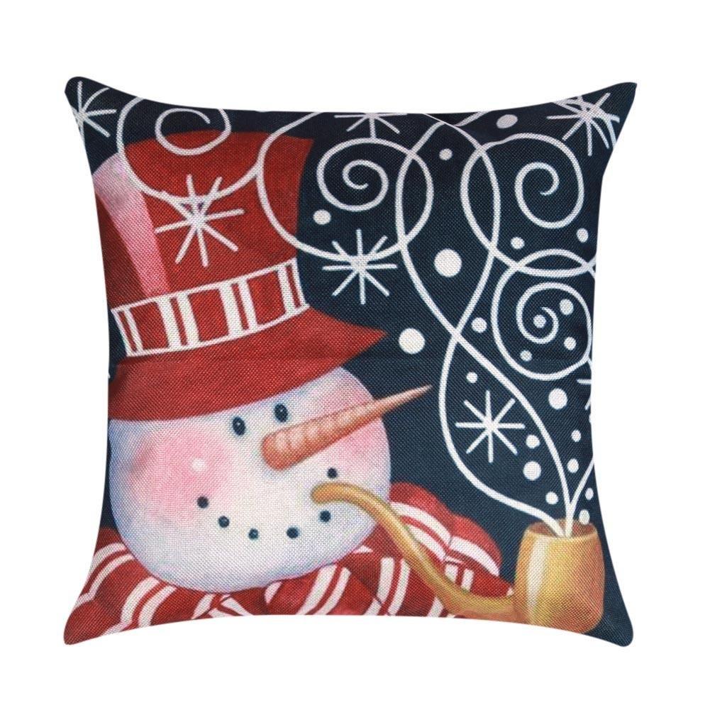 Globeagle Funda de cojín navideña, diseño de muñeco de nieve, para decoración del hogar (04)