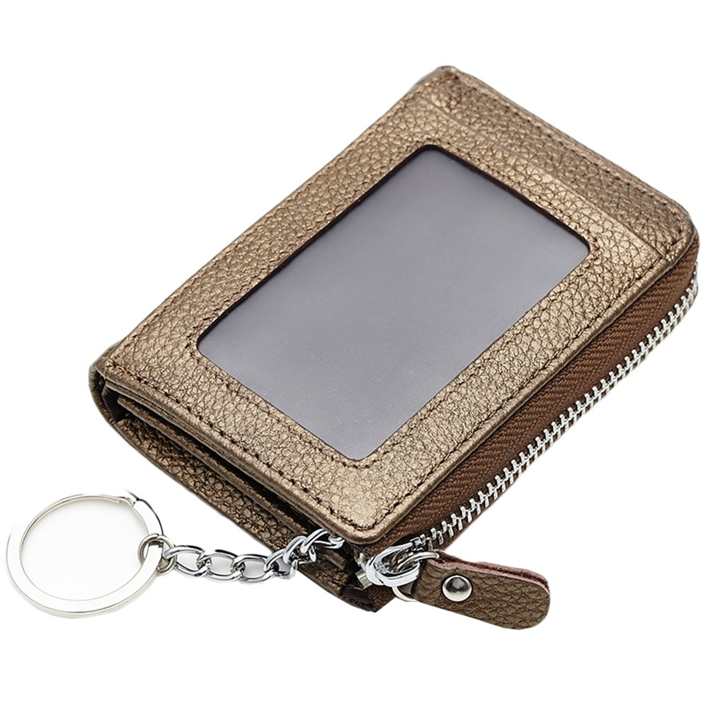 Lecxci-Mens Womens Small Soft Leather Coin Change Pouch, Zipper Credit Card Holder Wallets with ID Window for Men Women (Gold with Keyring)