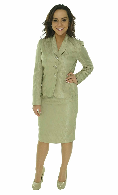 Women's Jacquard Embossed Business Suit Jacket & Skirt Set Le Suit