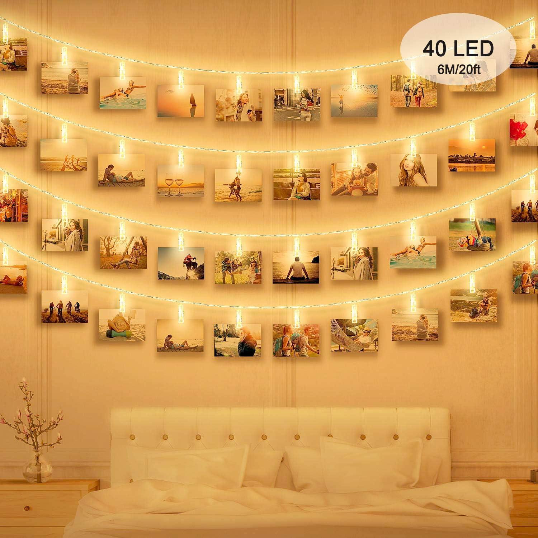 Foto Clip Cadena de Luces LED, massway Cadena Luces de Clip para Fotos 6m 40 LED Blanco cálido Guirnalda de luces con Clips para Colgar Fotos ldecoración, Habitaciones, Bodas and Cumpleaños