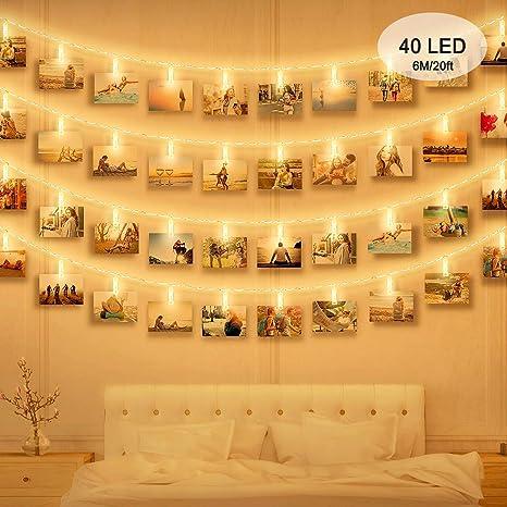 Foto Clip Cadena de Luces LED, massway Cadena Luces de Clip para Fotos 6m 40 LED Blanco cálido Guirnalda de luces con Clips para Colgar Fotos ...