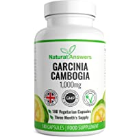 Garcinia Cambogia - 1000MG High Strength Serving - Natural Weight Loss - for Men and Women - 180 Capsules - 3 Month Supply - 100% Money Back Guarantee - 100% Suitable for Vegetarians - Made in UK