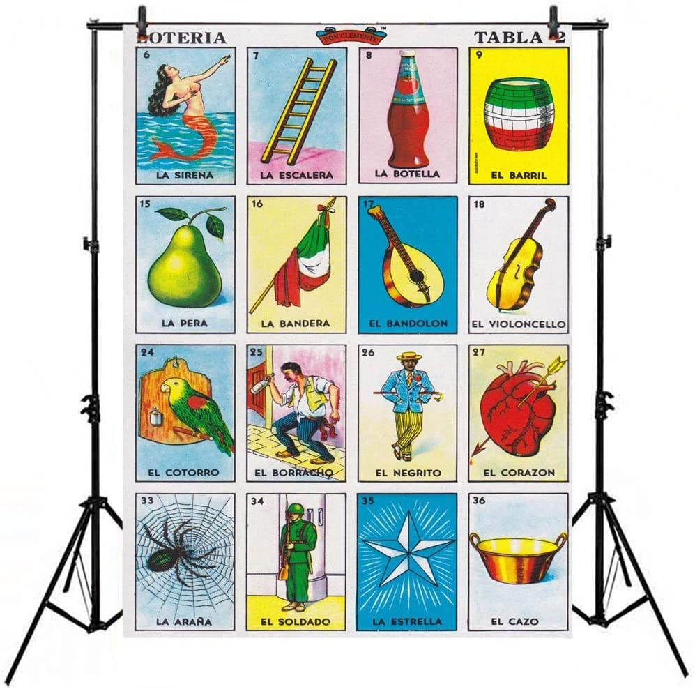 Loteria Card Backdrop Mexican Party Theme Mexico Loteria Cards Photography Background 5x7ft Vinyl Mexican Fiesta Birthday Decorations Banner Newborn Adult Portrait Photoshoot Photo Booth Props