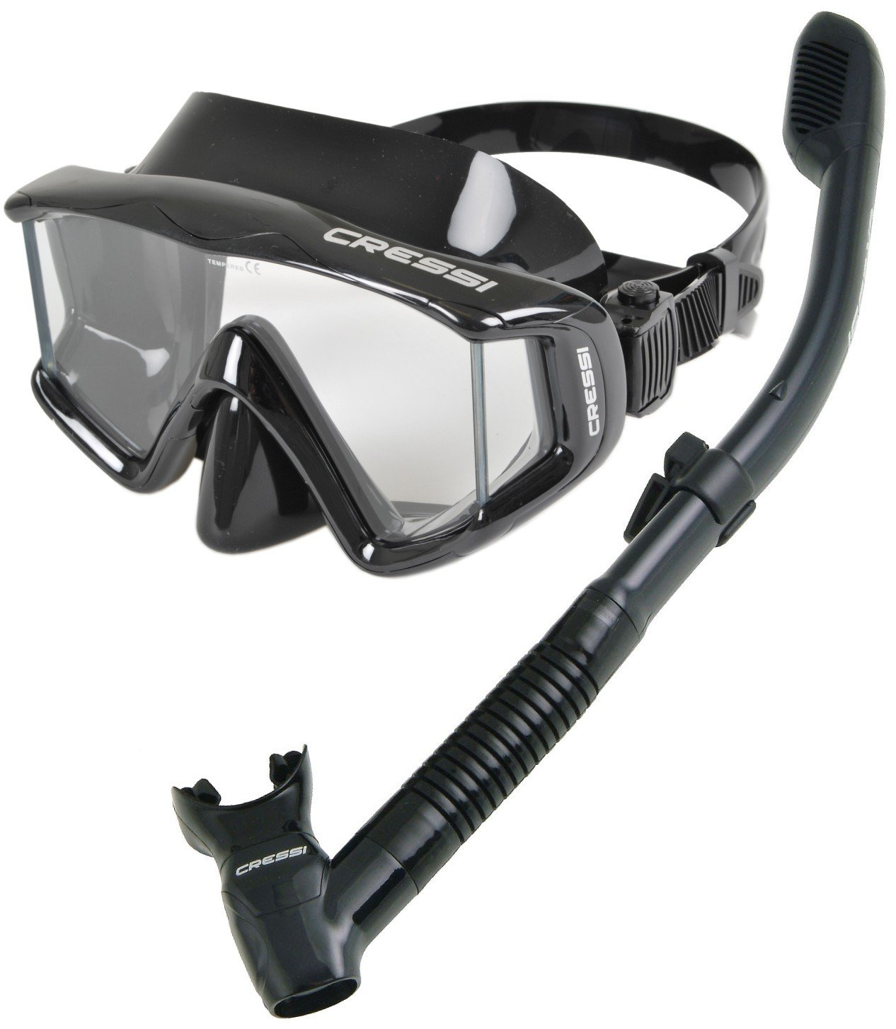 Cressi Panoramic Wide View Mask Dry Snorkel Set, Black/Black