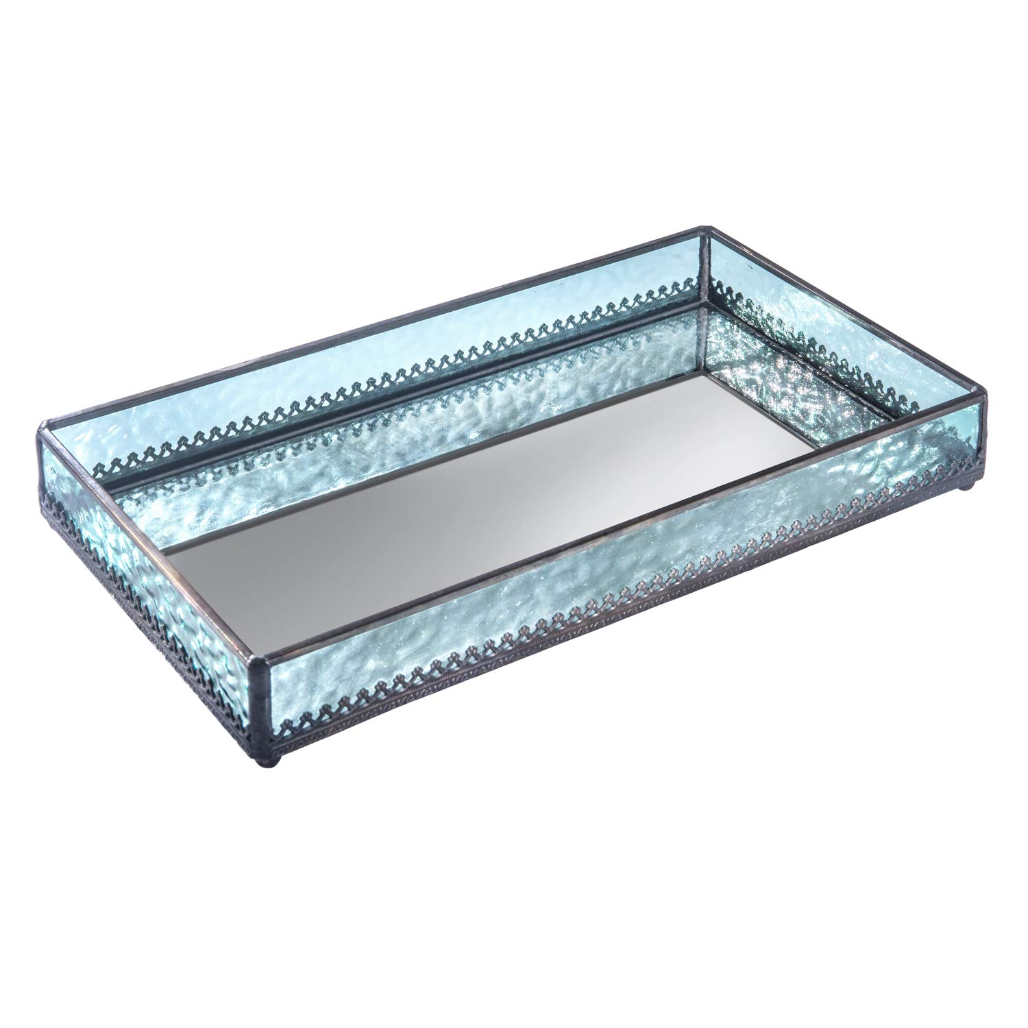 Turquoise Blue Glass Tray Mirrored Bottom Decorative Bathroom Vanity Cosmetic Makeup Organizer Jewelry Display Perfume Holder Dresser Home Décor Candle Tray Gift for Woman J Devlin Tra 127