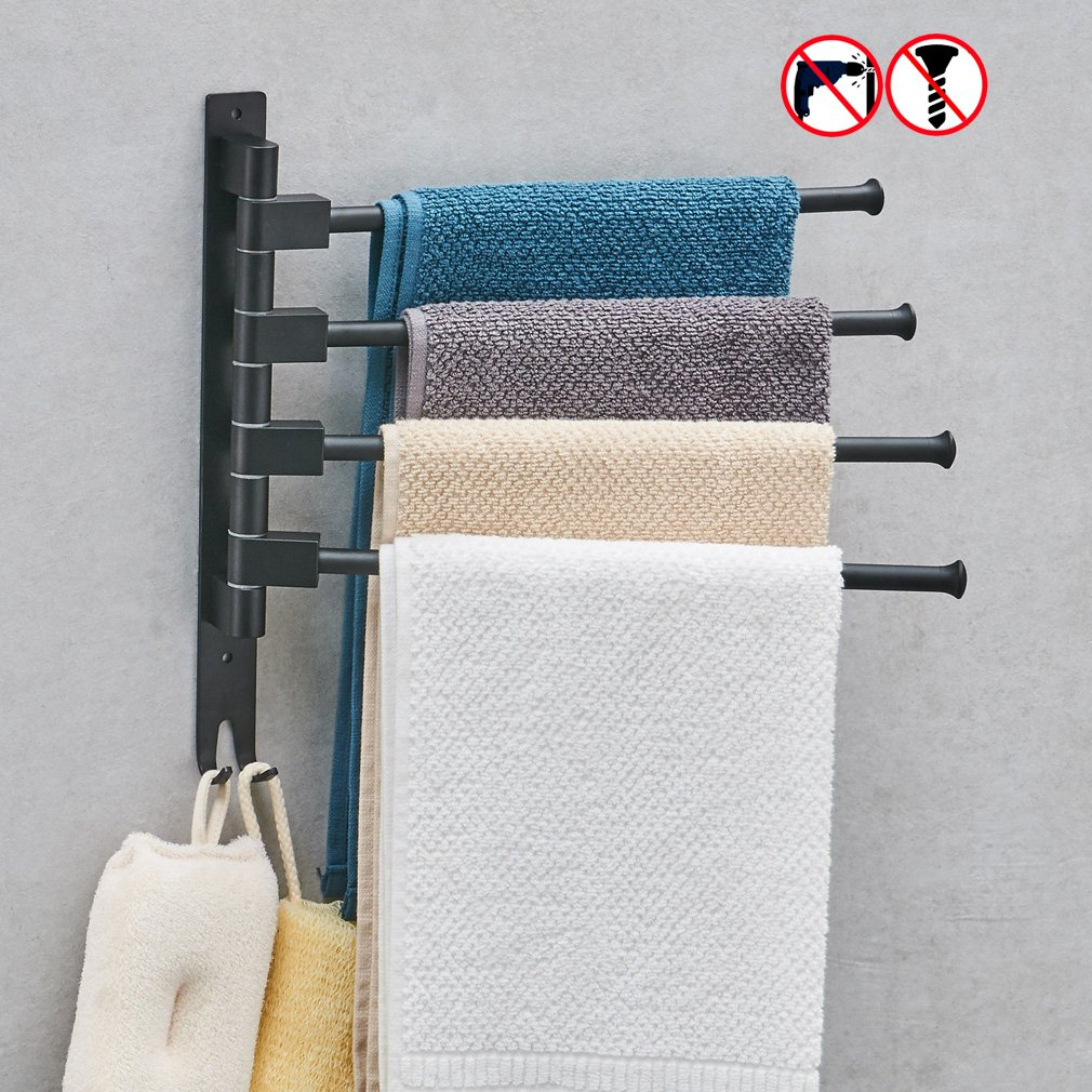 BESy Aluminum Swing Out Towel Bar 4-Bar Self Adhesive Folding Arm Swivel Hanger Bathroom Storage Organizer Space Saving Drill Free black, Wall Mount on all smooth or textured surfaces