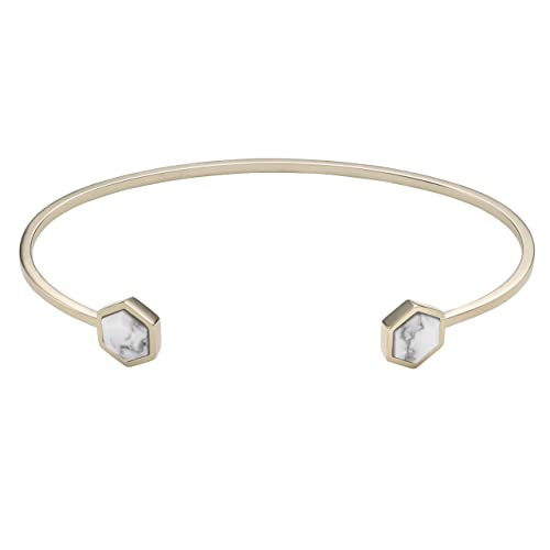 88427f6e6d1 Image Unavailable. Image not available for. Color: CLUSE Women's Idylle Gold  Plated Brass Marble Hexagons Open Cuff Bracelet CLJ11003