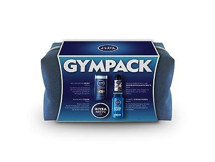 NIVEA MEN Neceser Gimnasio Gympack, neceser de regalo con gel de ducha (1 x 250 ml), champú (1 x 250 ml), desodorante roll on (1 x 50 ml) y NIVEA MEN Creme (1 x 75 ml): Amazon.es