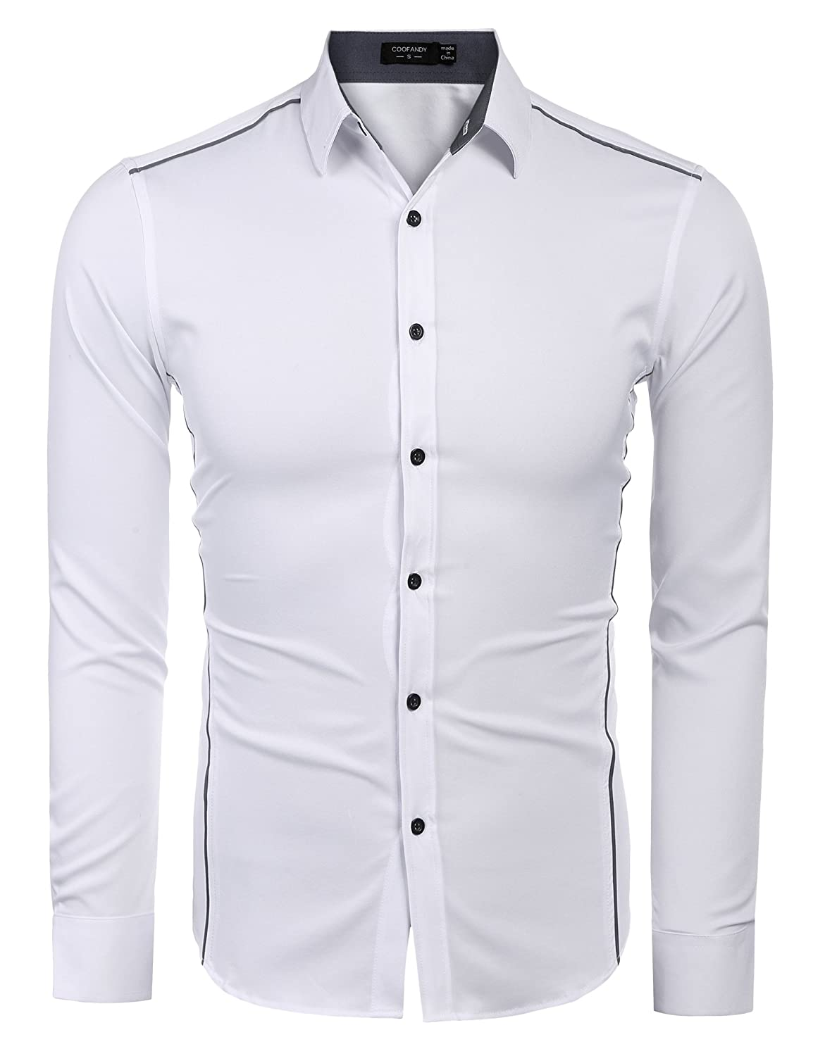 COOFANDY Mens Casual Long Sleeve Stand Collar Button Down Shirt