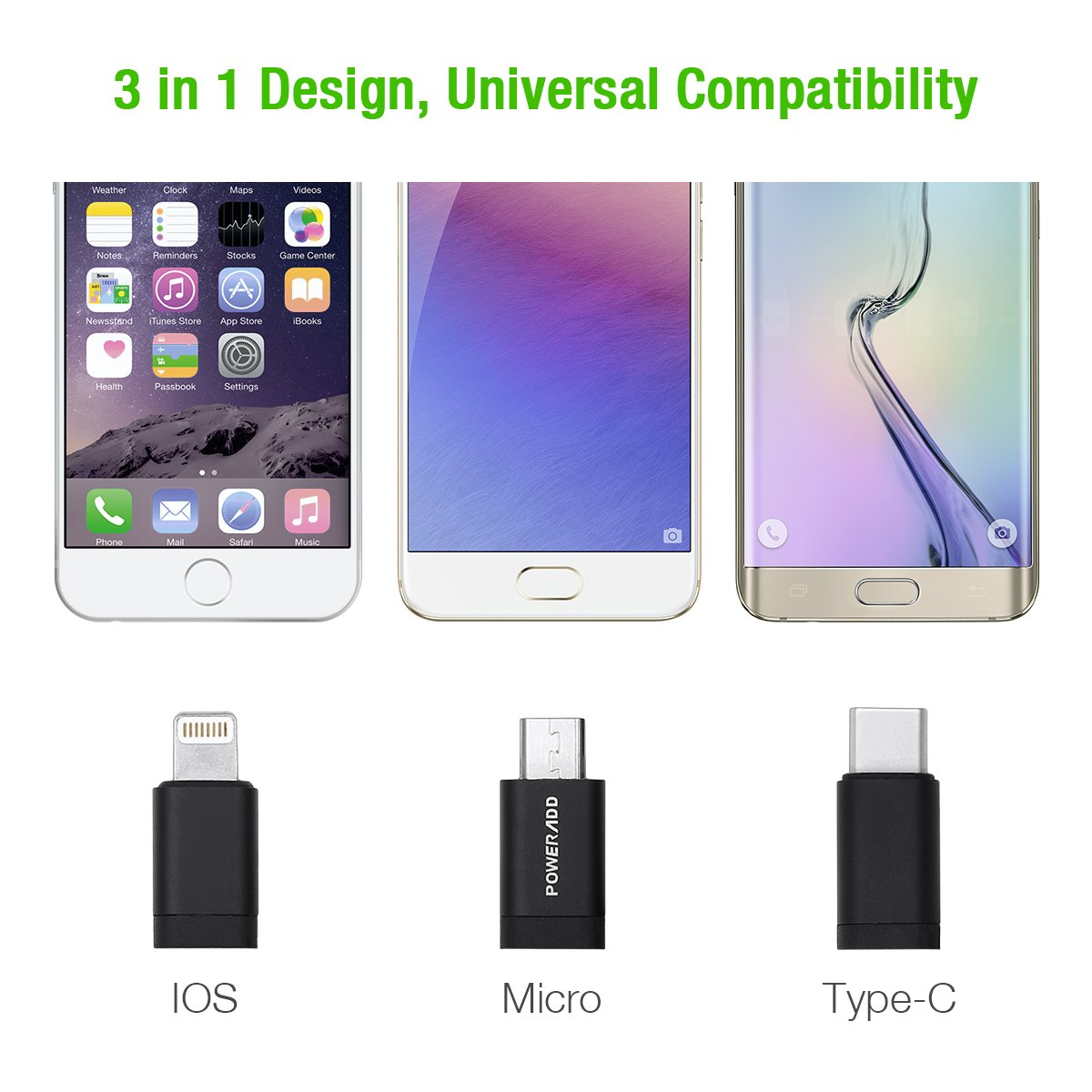 [MFi Certified] 3 in 1 Charging Cable, Poweradd MFi Certified Lightning, Type C, Micro USB Cable, 3.3ft (1m) Multiple Universal Charging Cord for iPhone, iPad and Android Smartphone