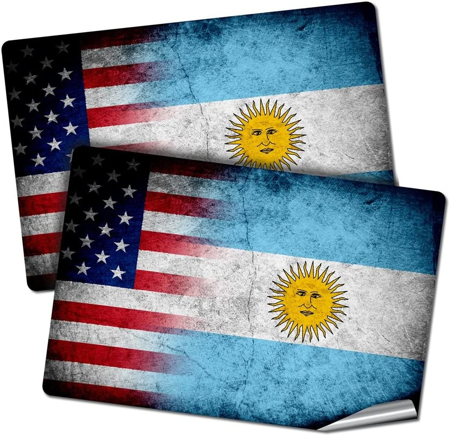 "ExpressItBest Two 2""x3"" Decals/Stickers with Flag of Argentina - Rustic w USA Flag - Long Lasting Premium Quality"
