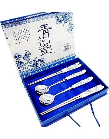 Set de Cubiertos de Acero Inoxidable Estilo Chino vajilla de Porcelana Azul y Blanca del Viaje